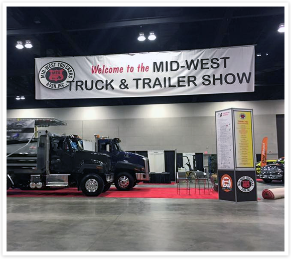 Picture of a truck and trailer at the Midwest Truck Show in Peoria Illinois